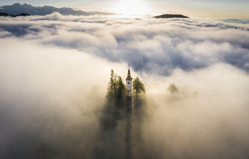 пейзаж, туман, рассвет, природа, dusk, landscape, drone, mist,fog Невесомостьphoto preview