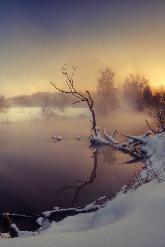 закат, туман, река, вода, снег, мороз, коряга | Горячая река |photo preview