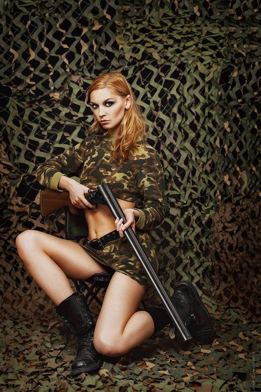 girl with rifle, hunter Magazine coverphoto preview
