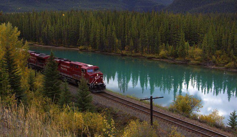 канада, скалистые горы, река, елки, ели, canadian pacific, отражения Canadian Pacificphoto preview