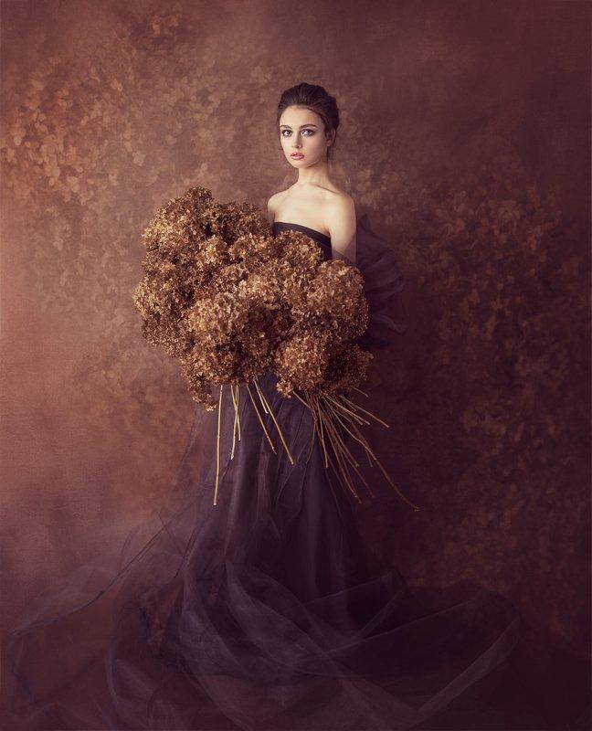 портрет цветы сухоцвет девушка Анастасияphoto preview