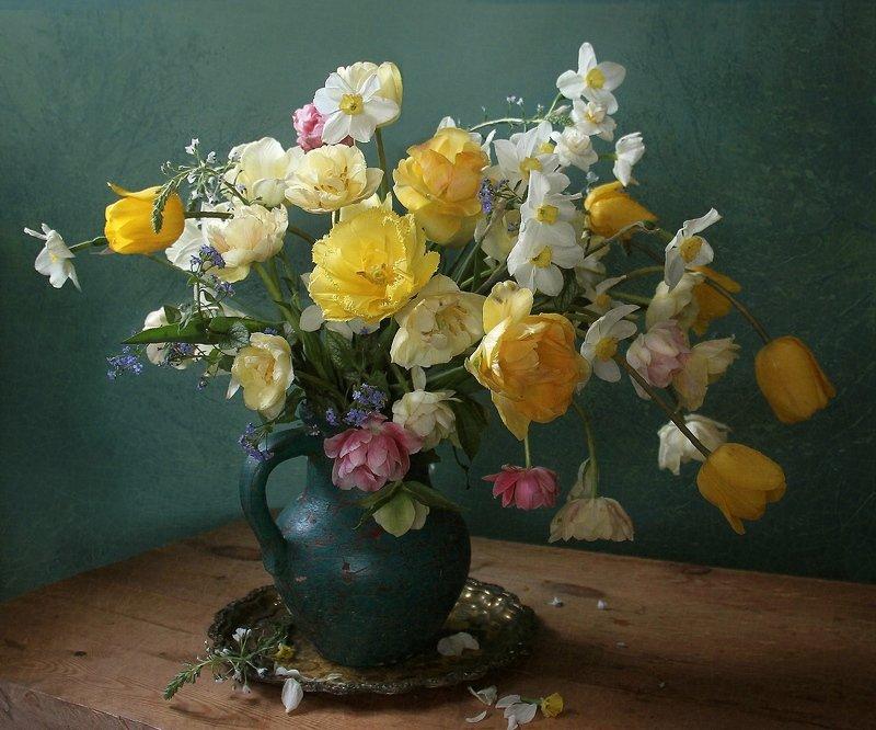 весна, натюрморт, букет цветов, тюльпаны, марина филатова ***photo preview