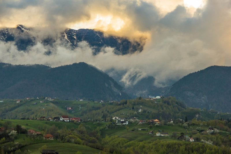 spring landscape storm green beautiful transylvania photography photo frame mountains village    Spring after the storm.photo preview