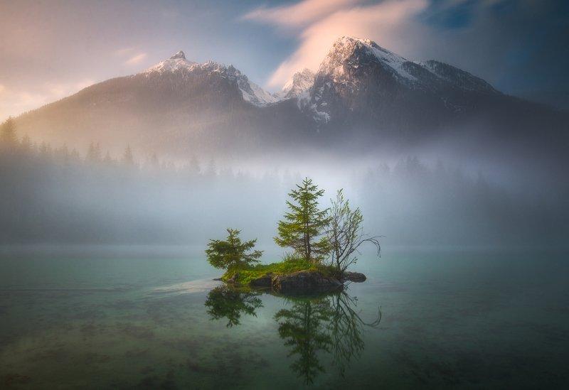 sunrise,morning,fog,travel,mountains,alps,bavaria Hinterseephoto preview