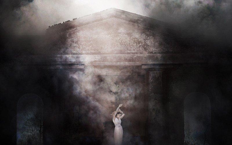 девушка,архитектура,туман Майяphoto preview