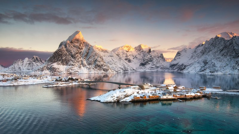 lofoten, sakrisoy, reflections, mountains, seascape, landscape, panorama, mystic, soothing, morning, light Morning In Sakrisoy v2photo preview