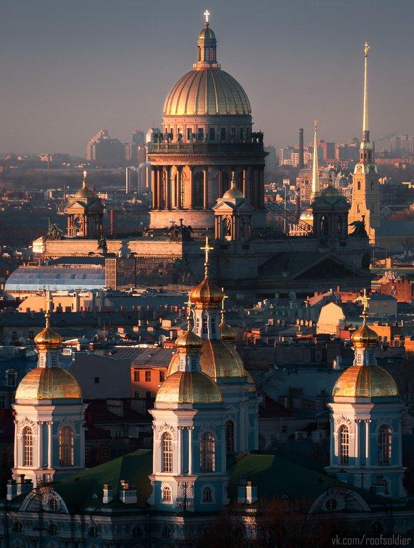 Россия, город, Санкт-Петербург, церковь, храм, религия, закат, крыша, закат Золотой часphoto preview