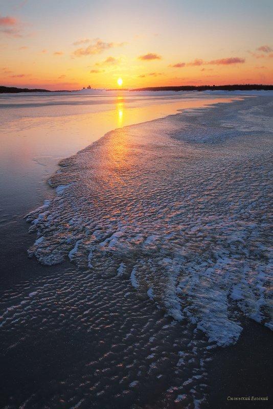 лед, снег, зима, закат, река, вечер, холод Огненный ледphoto preview