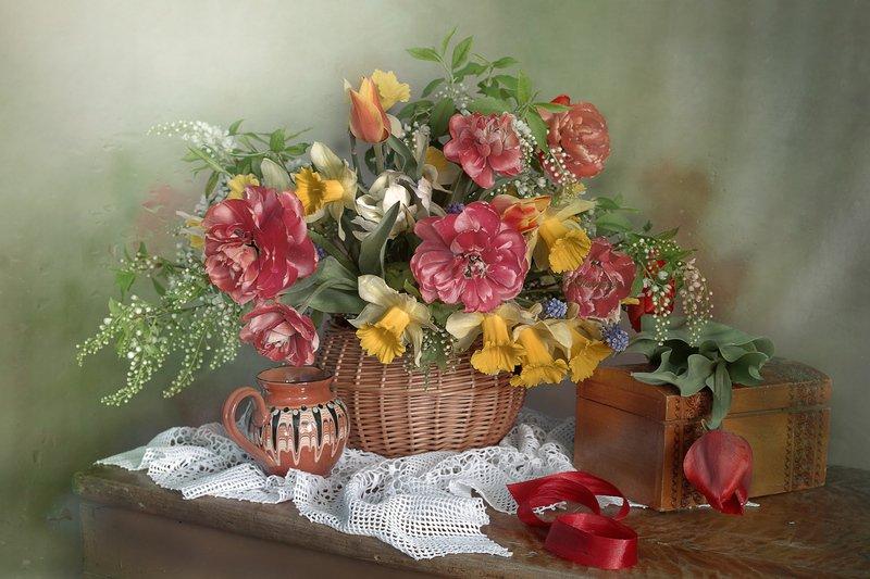 весна,весенний букет,натюрморт,тюльпаны,нарциссы,вера павлухина, Весенняя зарисовкаphoto preview