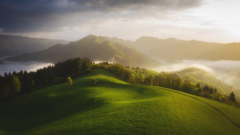 пейзаж, рассвет, горы, утро Простой пейзажphoto preview