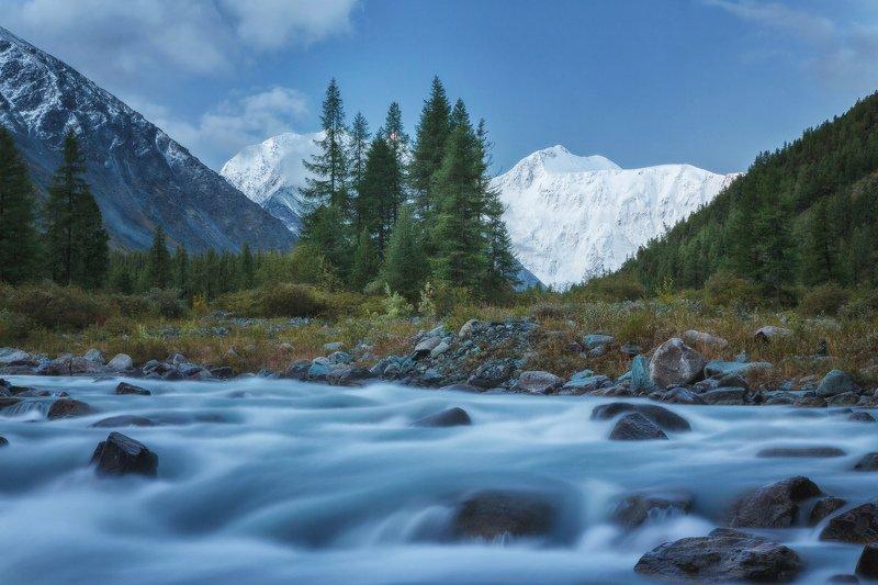 горы, облака, природа, алтай, рассвет, река, путешествие, россия, озеро Утро, река Аккем, Белухаphoto preview