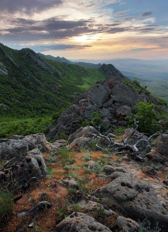 горы,весна,пейзаж,закат,дагестан. Закат в горах.. фото превью