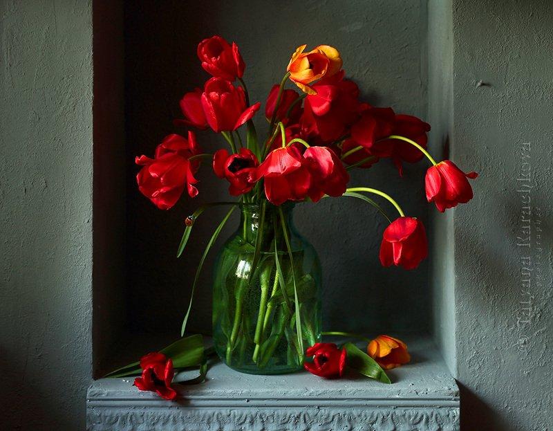 натюрморт, ниша, весна, май, цветы, ваза, банка, ландыши, сирень, тюльпаны,нарциссы Цветы весныphoto preview
