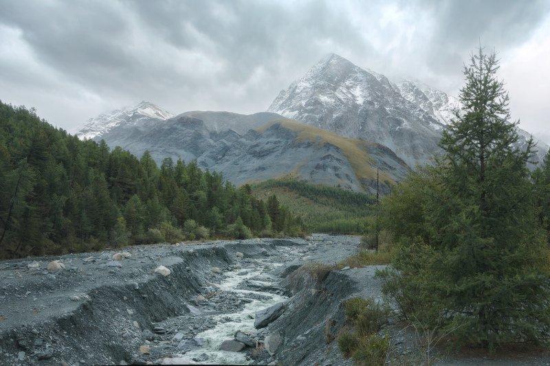 горы, облака, природа, алтай, рассвет, река, путешествие, россия дорога в дождливую долину Ярлуphoto preview