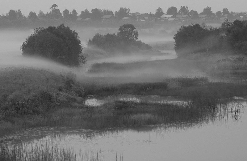 вологодская область, река вожега, деревня коневка,вечер туман Вечерний туманphoto preview