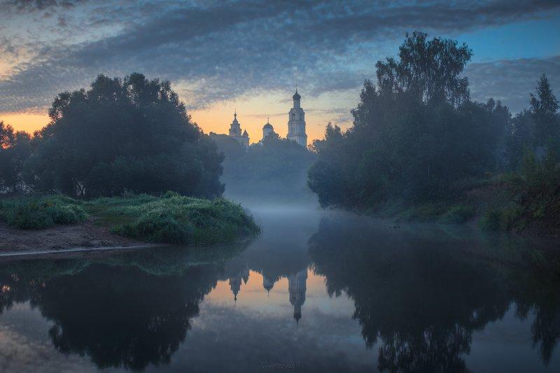 киржач, река, туман, храм, рассвет, владимирская область Киржач фото превью