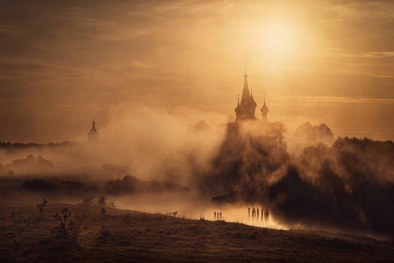 россия дунилово рассвет туман Туманное утро в с.Дуниловоphoto preview