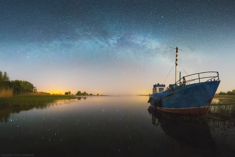 ночь, звезды, млечный путь, milky way, stars Весенняя ночь в тихой бухтеphoto preview