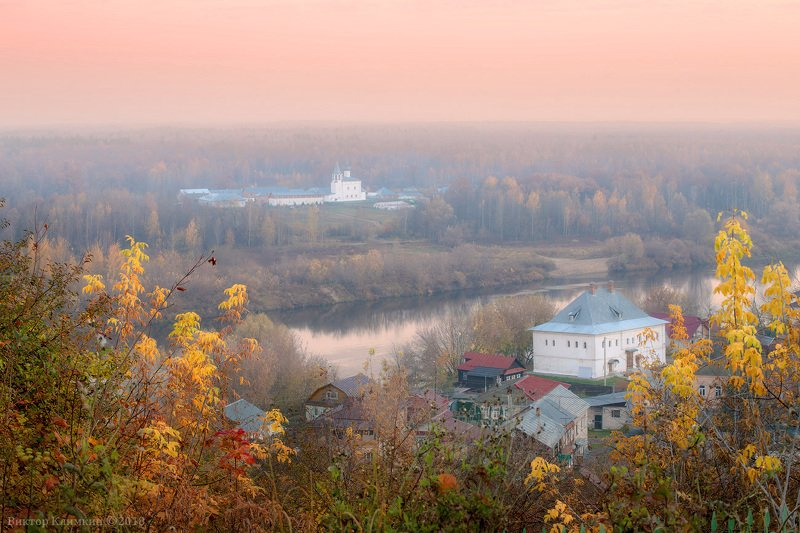 пейзаж, гороховец, монастырь, храм, клязьма, река Гороховец. Розовое утро.photo preview