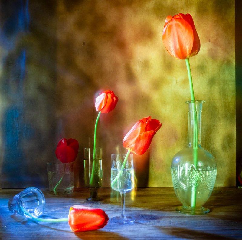 тюльпаны, натюрморт, абстракция, графин, фотонатюрморт photo preview