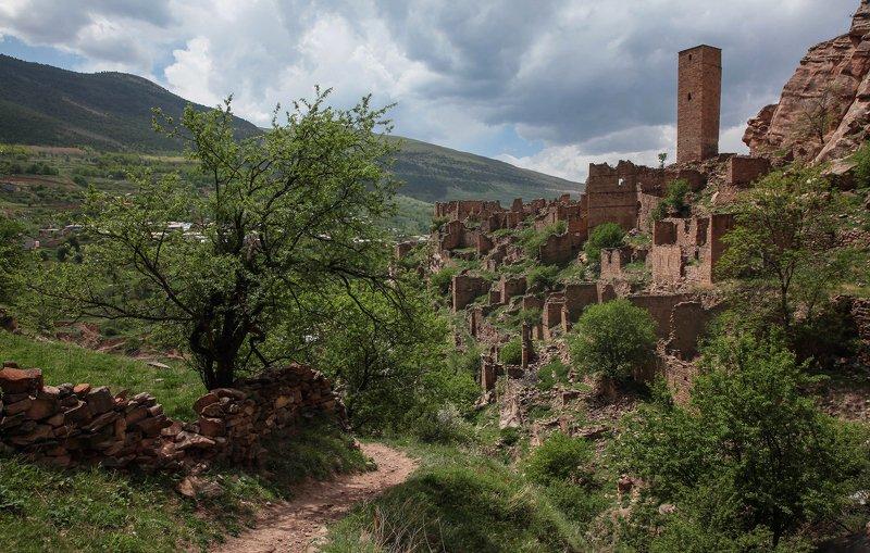 аул,кахиб,горы,пейзаж,горный пейзаж,весна,дагестан,северный кавказ,шамильский район. Аул старий Кахиб.. фото превью