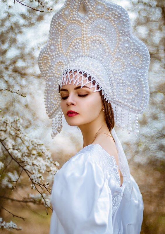 белое, кокошник, девушка, сказка, портрет ...photo preview