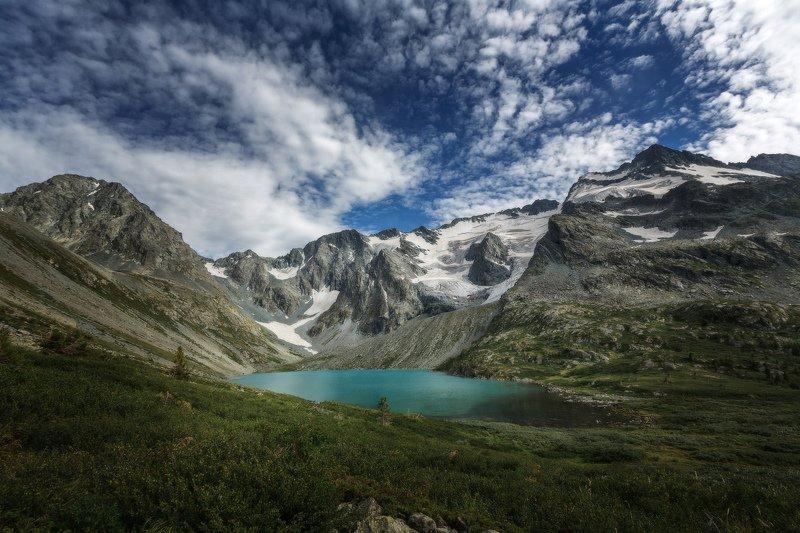 горы, облака, природа, алтай, рассвет, река, путешествие, россия, озеро Жемчужина Мультинских озер-озеро Верхнее Поперечноеphoto preview