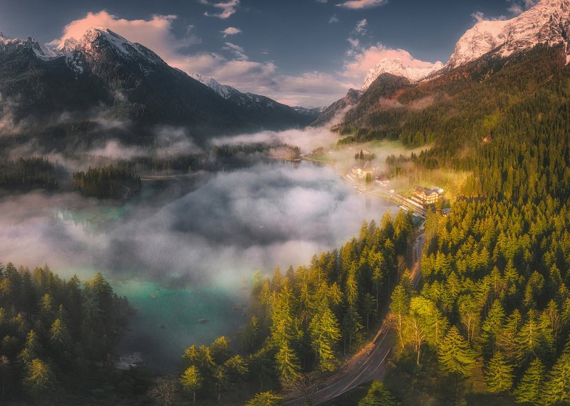 drone,sunrise,mountains,clouds,landscape Hinterseephoto preview