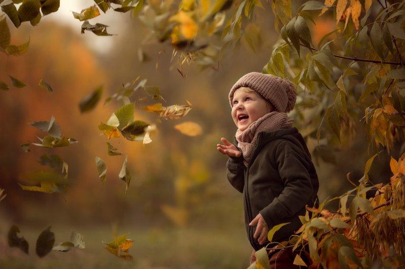 дети, осень, листопад, радость, эмоции, счастье photo preview