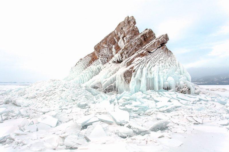 зима, Байкал, лед, снег, холод, скалы, остров, Малое море Зимний Байкалphoto preview