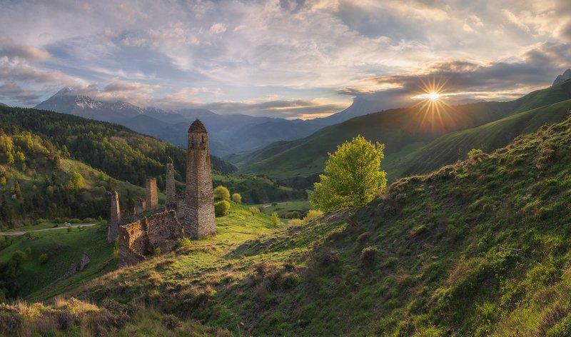 кавказ, ингушетия, заповедник, эрзи, башни, весна, май, вечер, закат Вечер в горах Ингушетииphoto preview