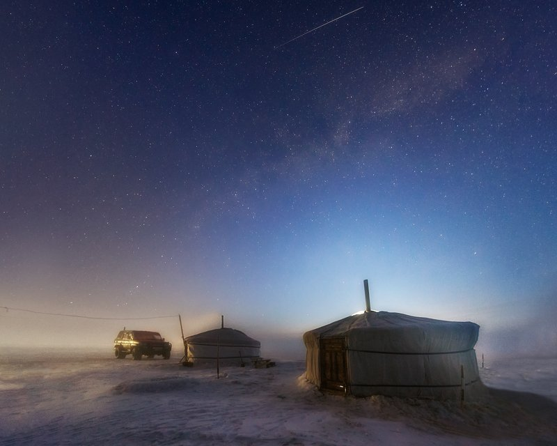 Under a starry sky on the ice of Baikal.photo preview