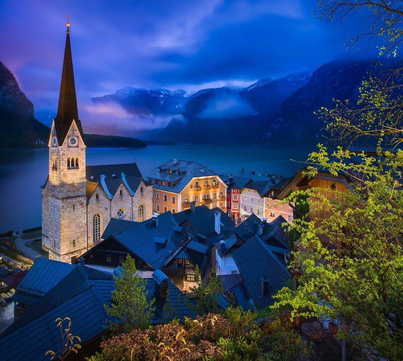 hallstatt, austria, blue hour, old architecture, lake, hallstätter see Blue hour in Hallstattphoto preview