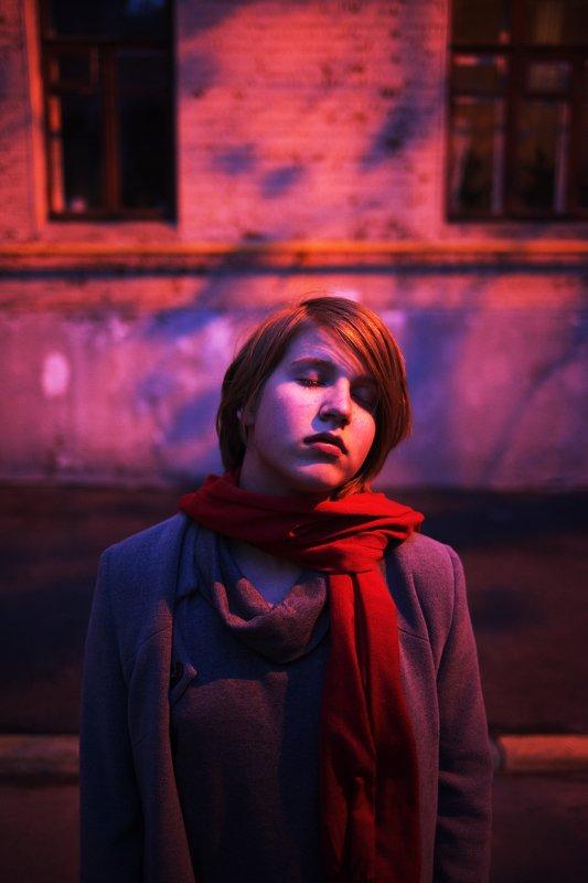 вечер, улицы Красно-синий портрет.photo preview
