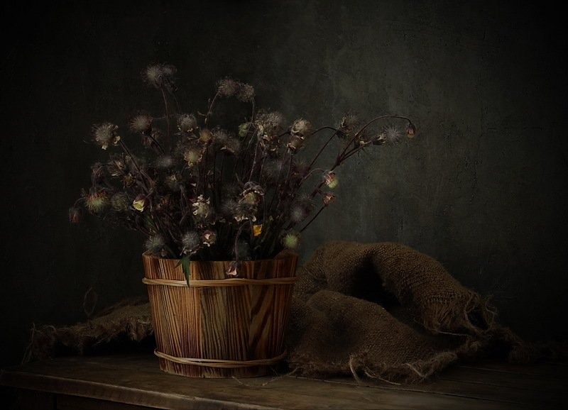 натюрморт, трава, мешковина ***photo preview