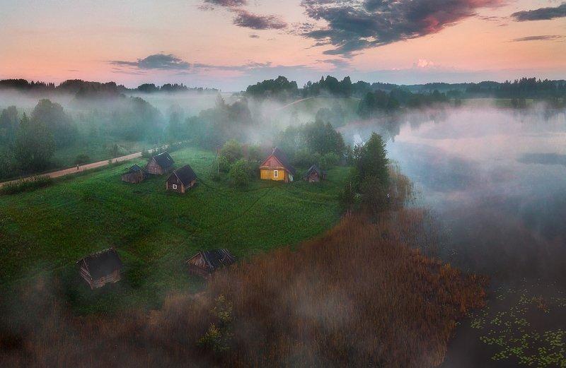 landscapes,summer,fog,sunrise,lake Вчерашнее утроphoto preview