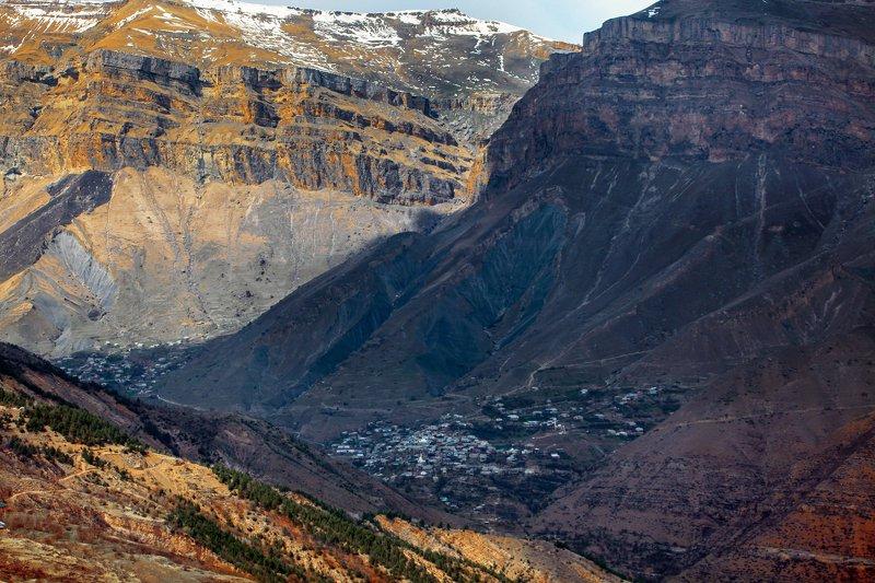 аул,села,горный пейзаж,весна,дагестан,северный кавказ,шамильский район. Горный пейзаж.. фото превью