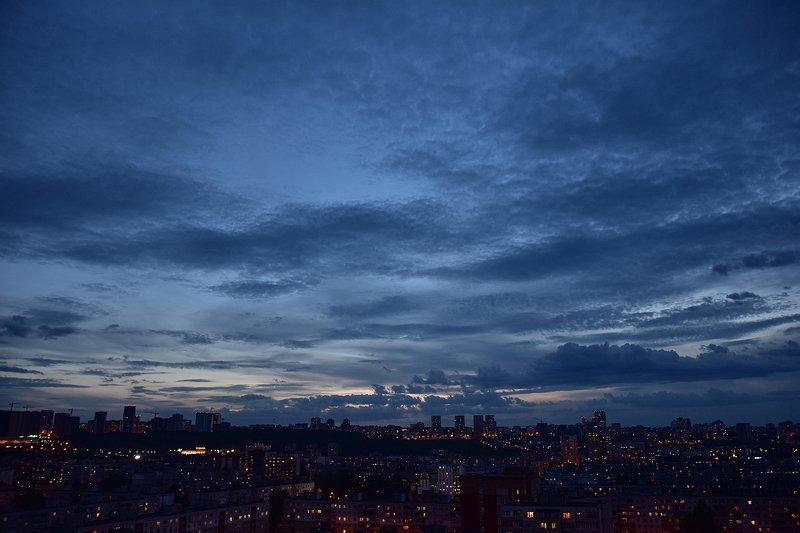 фотограф, город, пейзаж, закат, небо океан над городомphoto preview