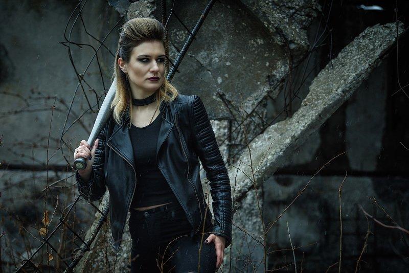 bad girl, punk, baseball bat, model, makeup, pretty, модель, красивая, панк, industrial, развалины, руины, гранж, grunge Bad Girlphoto preview