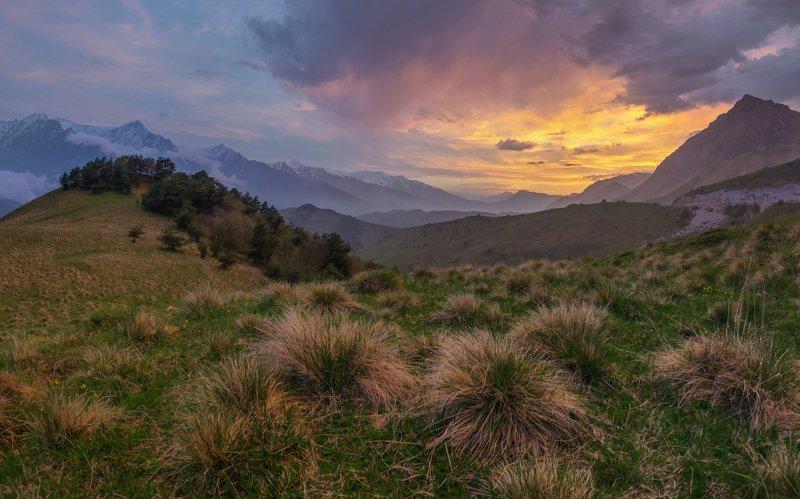 кавказ. ингушетия. эрзи. закат Вечер в горах ингушетииphoto preview