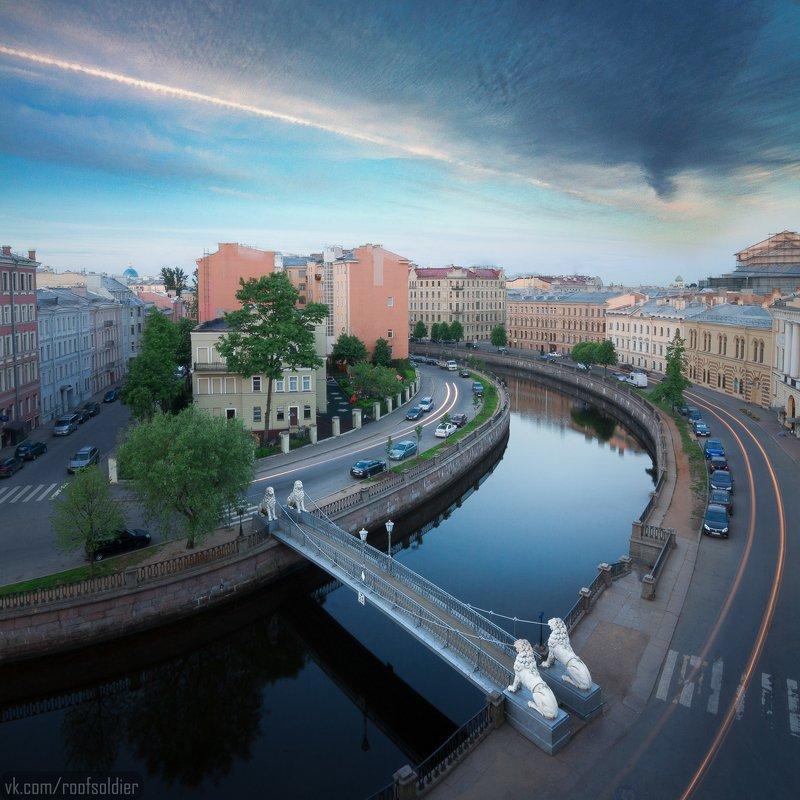 Санкт-Петербург, город, крыша, рассвет, пейзаж, мост Львиный мостphoto preview