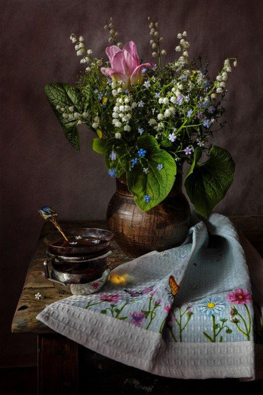 натюрморт,незабудки,тюльпан, ландыши, чай, О весне и незабудках...photo preview