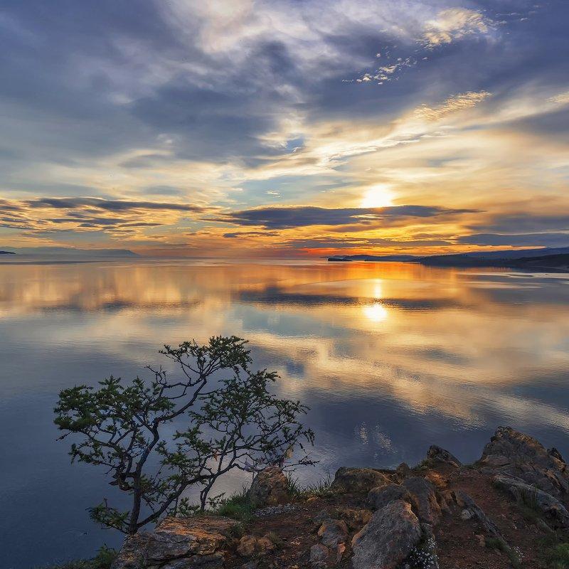 утро, восход, пейзаж, отражение, озеро, Байкал, зори Восходphoto preview