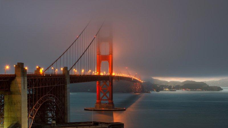 bridge, golden, gate, francisco, san, night, california, usa, city, bay, skyline, travel, sunset Night Bridgephoto preview