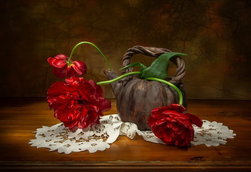 натюрморт, тюльпан, тюльпаны, махровый тюльпан, махровые Пламенеющие...photo preview