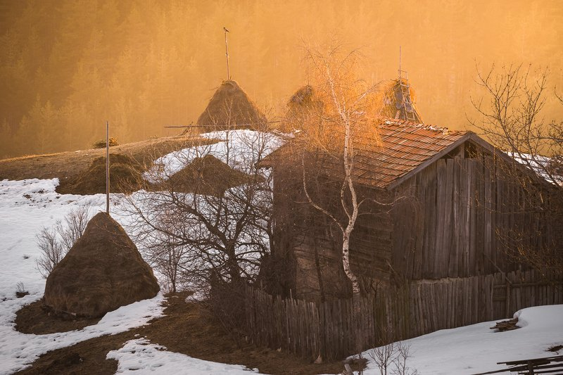 rhodope mountain, bulgaria, village, sunset The last sun rays of the dayphoto preview