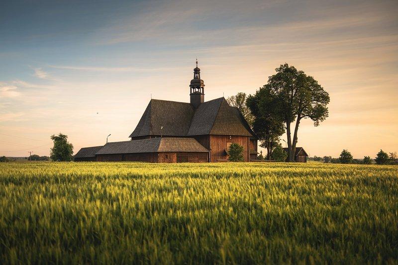 landscape, poland, village, flowers, spring, colors, sky, clouds, sunset, evening, golden hour, Churchphoto preview