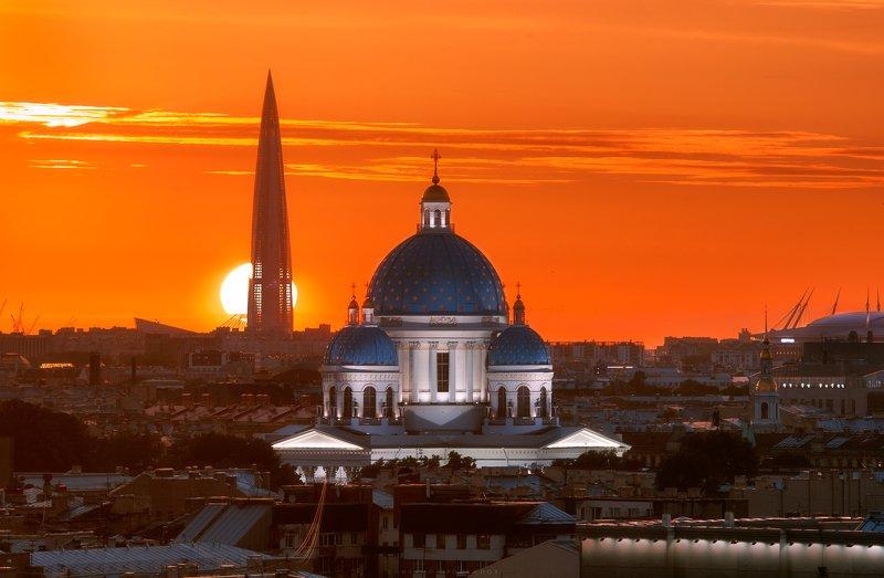 Питер, закат, город Троицкий собор, Лахта-центрphoto preview