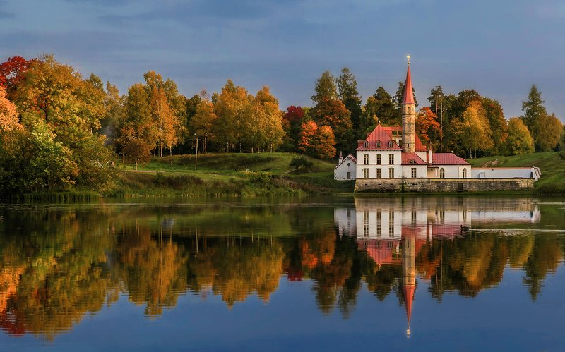 пейзаж,озеро,дворец,осень,вечер,отражения Осень в Гатчине.photo preview