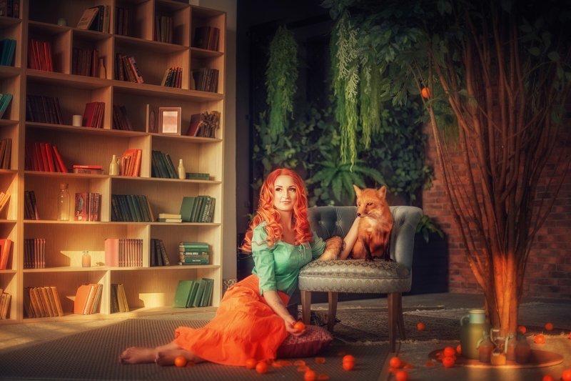 girl, portrait, fox, summer, orange, портрет, лис, девушка, апельсины, оранжевый, лето, восток photo preview